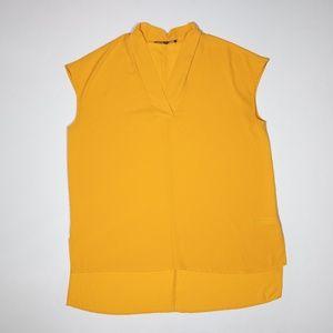Eloquii Short Sleeve Chiffon Tunic Blouse Marigold